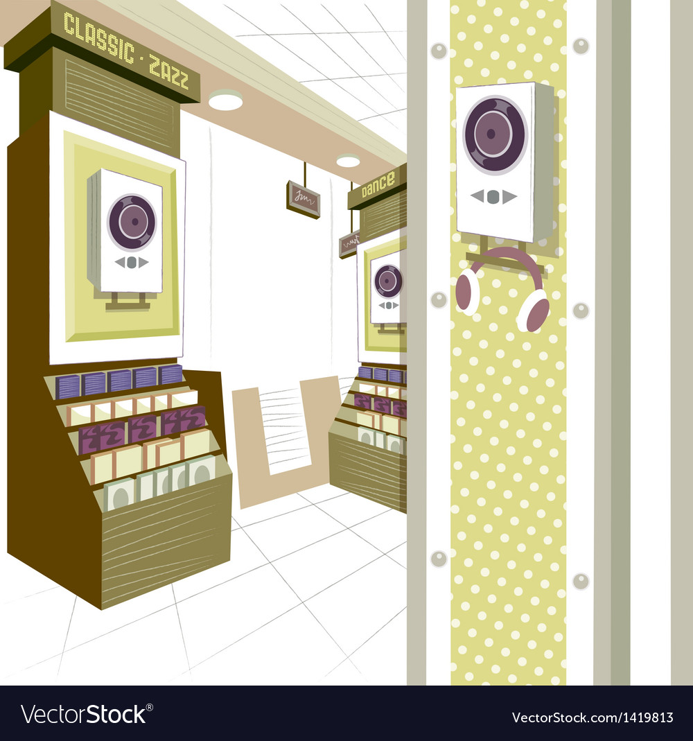 Music shop interior vector | Price: 1 Credit (USD $1)