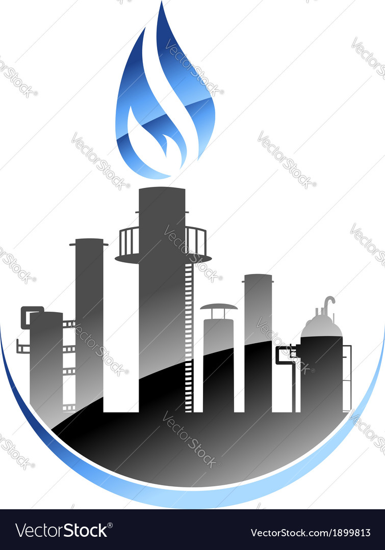 Oil refinery or industrial plant vector | Price: 1 Credit (USD $1)