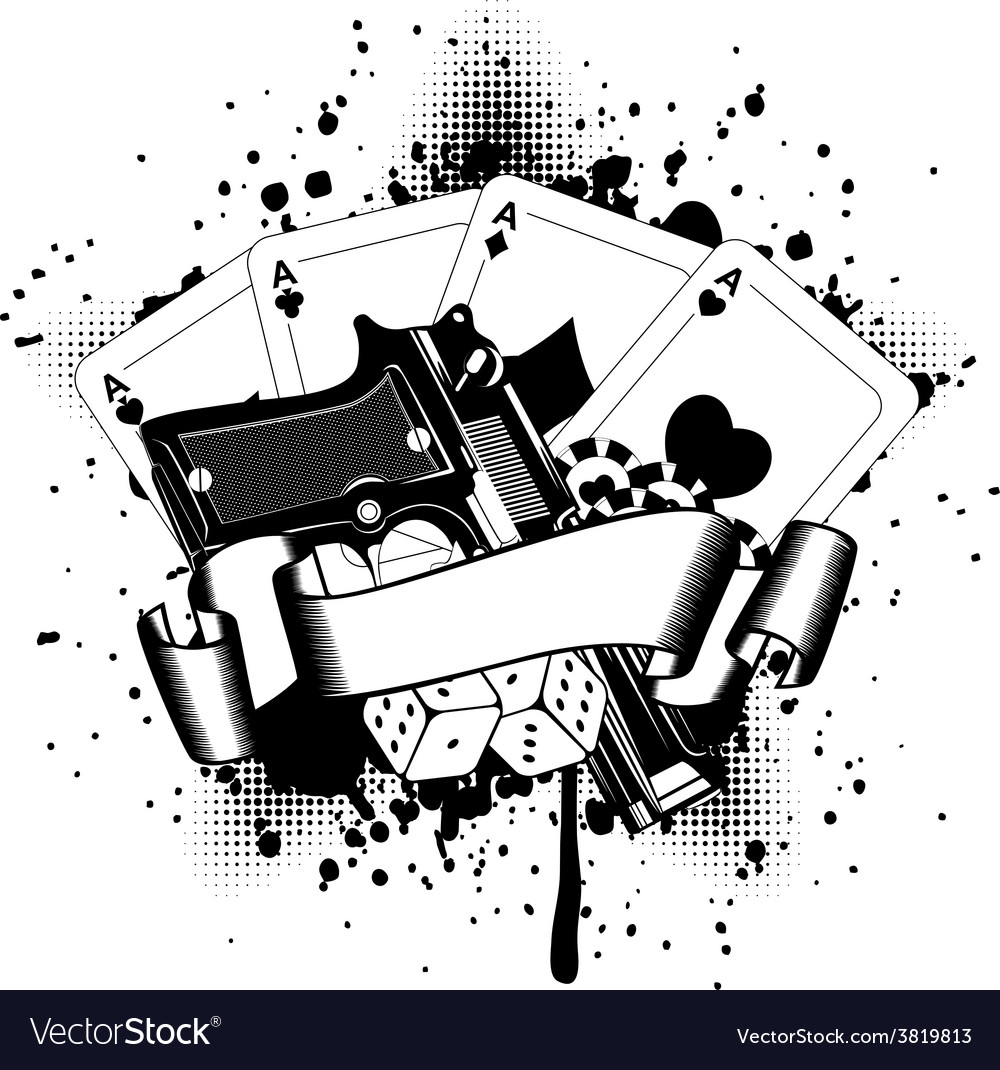 Pistols and playing cards dice chips vector | Price: 1 Credit (USD $1)