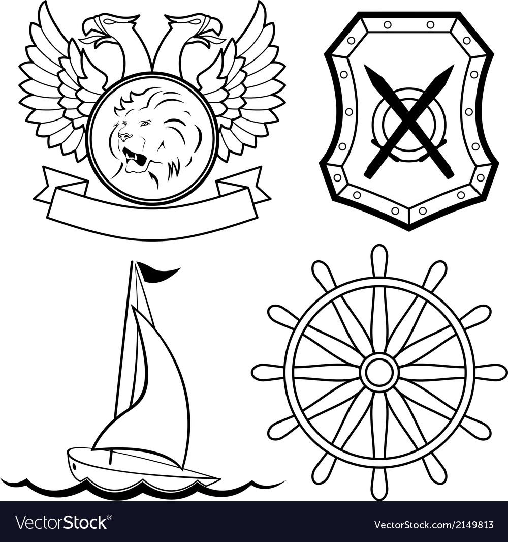 Set of nautical design elements vector | Price: 1 Credit (USD $1)
