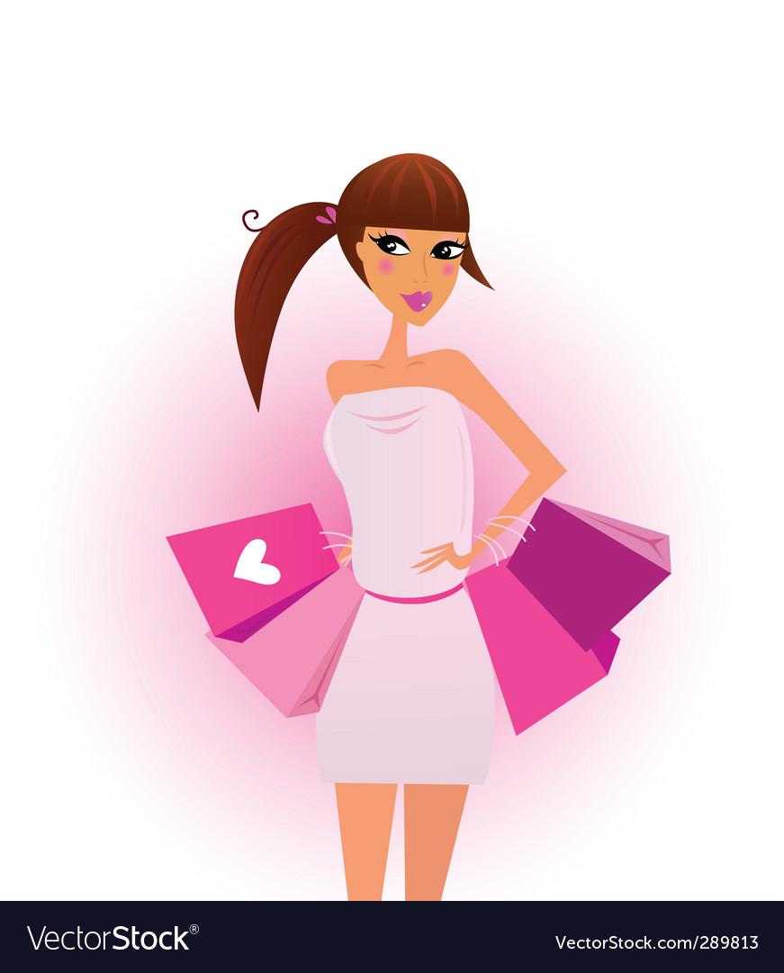 Shopper shopping girl vector | Price: 3 Credit (USD $3)