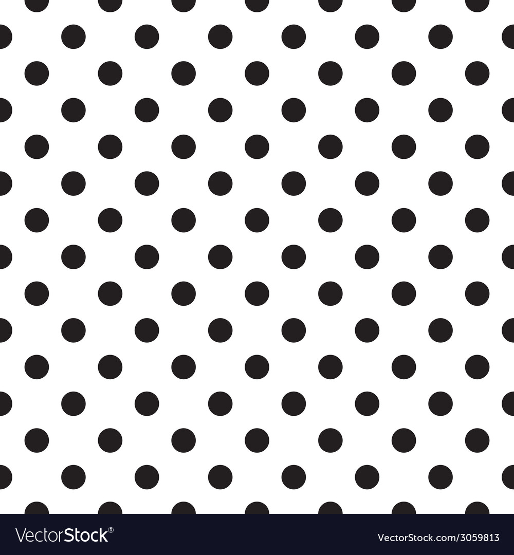Tile black polka dots on white background vector | Price: 1 Credit (USD $1)