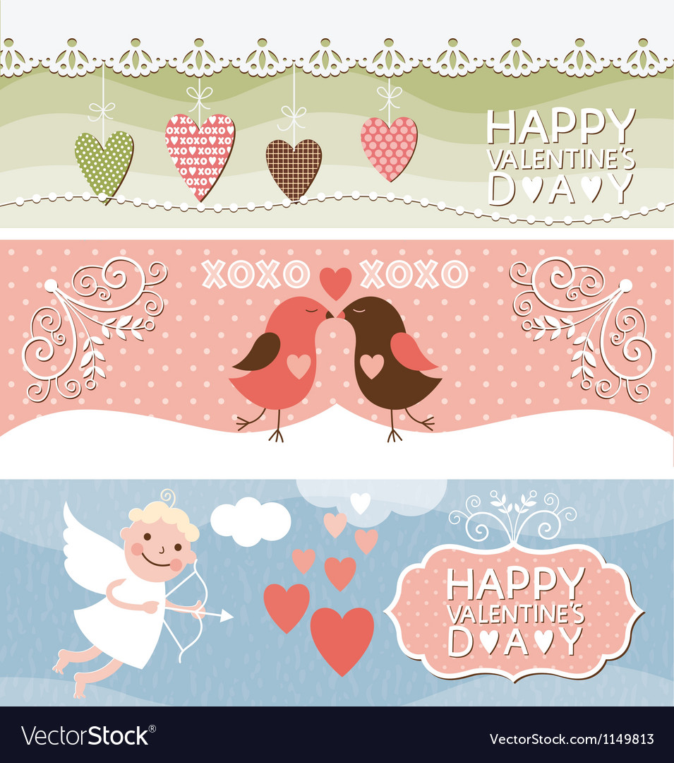 Valentine day horizontal banners vector   Price: 1 Credit (USD $1)