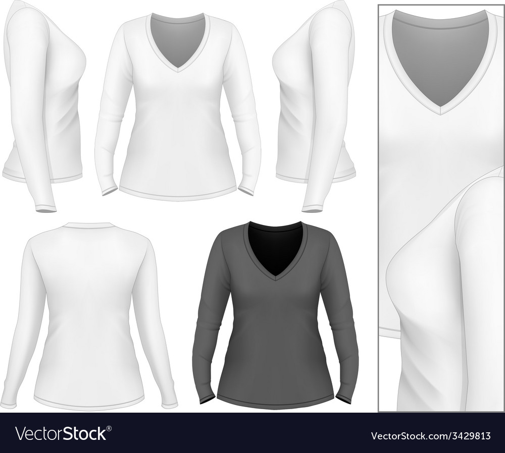 Womens v-neck long sleeve t-shirt vector | Price: 1 Credit (USD $1)