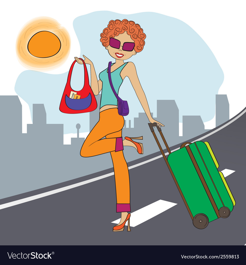 Young woman with suitcase vector   Price: 1 Credit (USD $1)