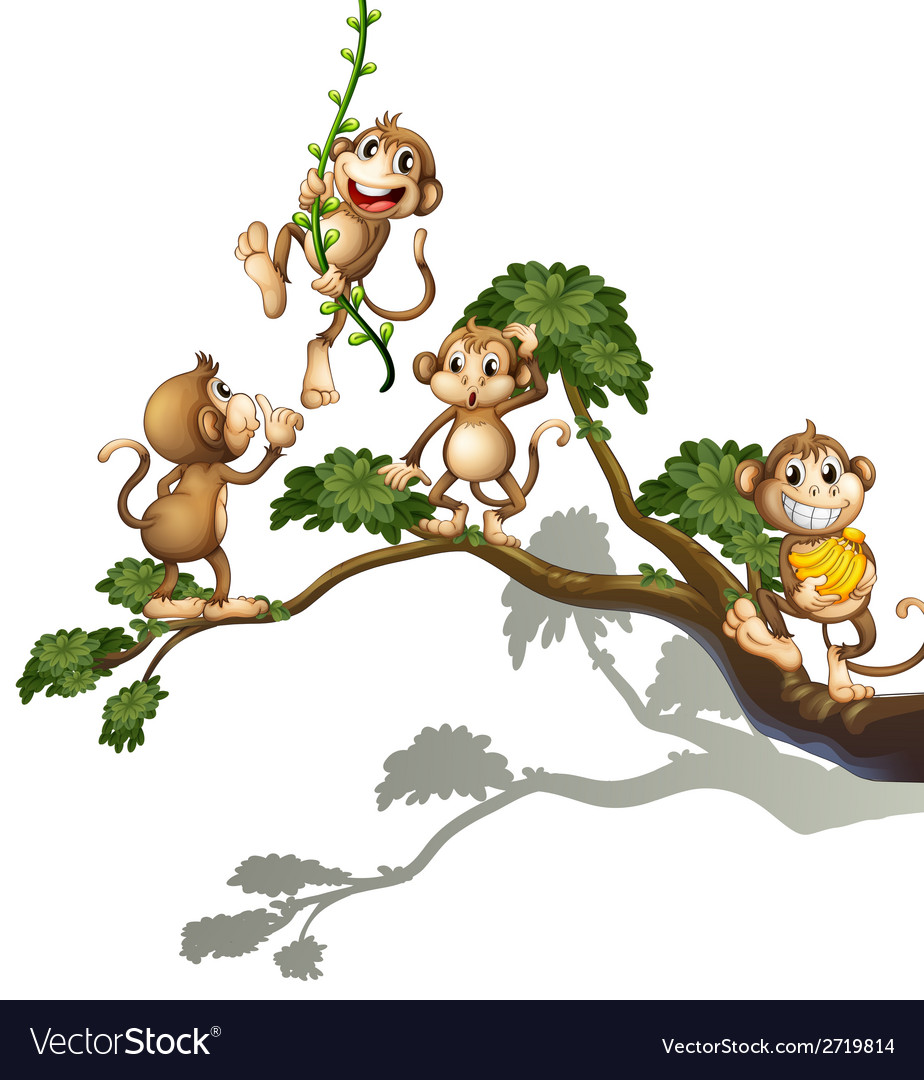 A tree with four monkeys vector   Price: 1 Credit (USD $1)