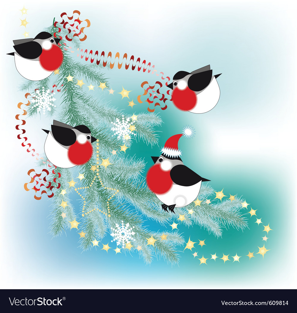 Bullfinch decorate a christmas tree with garlands vector | Price: 1 Credit (USD $1)