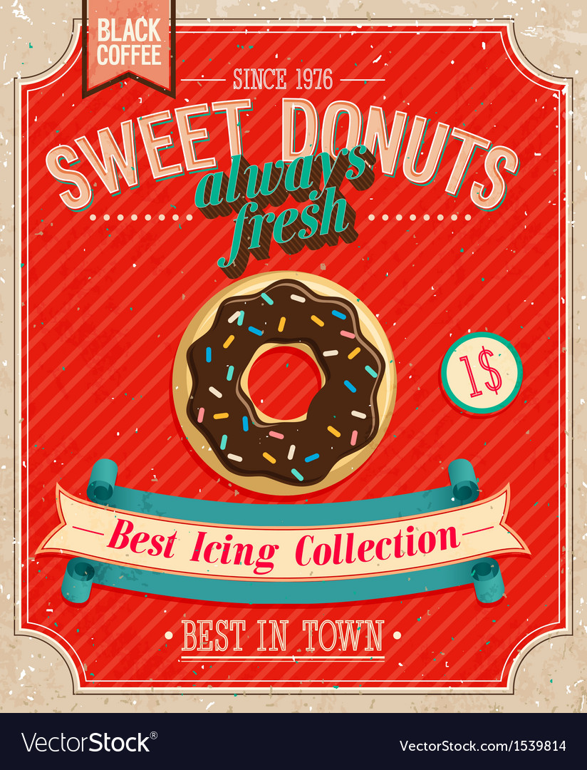 Donuts poster vector | Price: 1 Credit (USD $1)