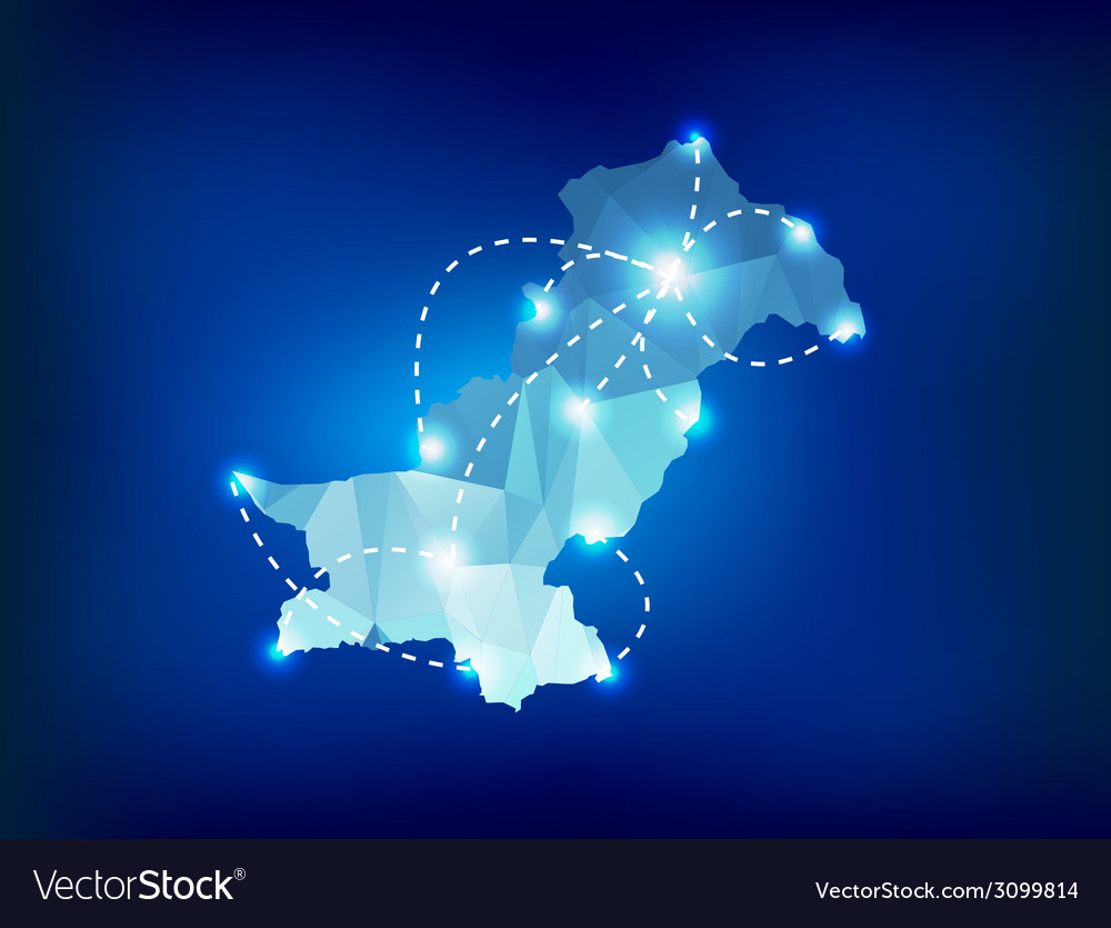 Pakistan country map polygonal with spot lights vector | Price: 1 Credit (USD $1)