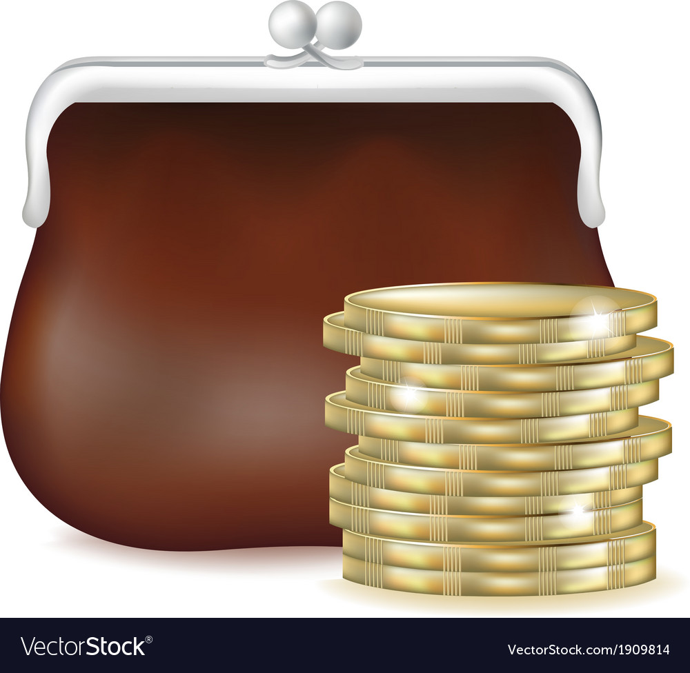 Purse and money vector | Price: 1 Credit (USD $1)