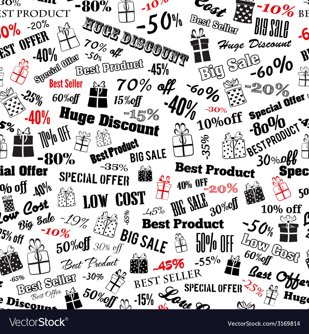 Seamless pattern on discounts and special offers vector   Price: 1 Credit (USD $1)