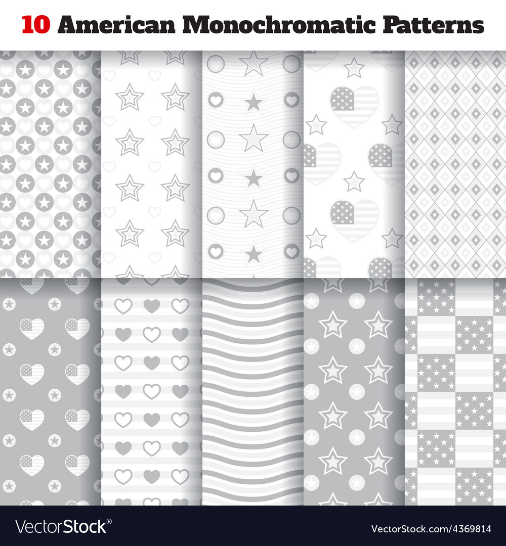 Set of monochromatic american seamless patterns vector | Price: 1 Credit (USD $1)