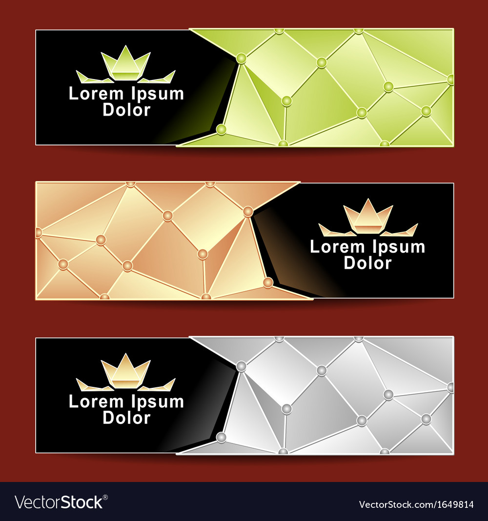 Set royal triangle banners vector | Price: 1 Credit (USD $1)
