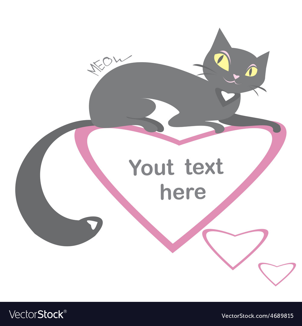 Background with black cats and hearts and place vector | Price: 1 Credit (USD $1)