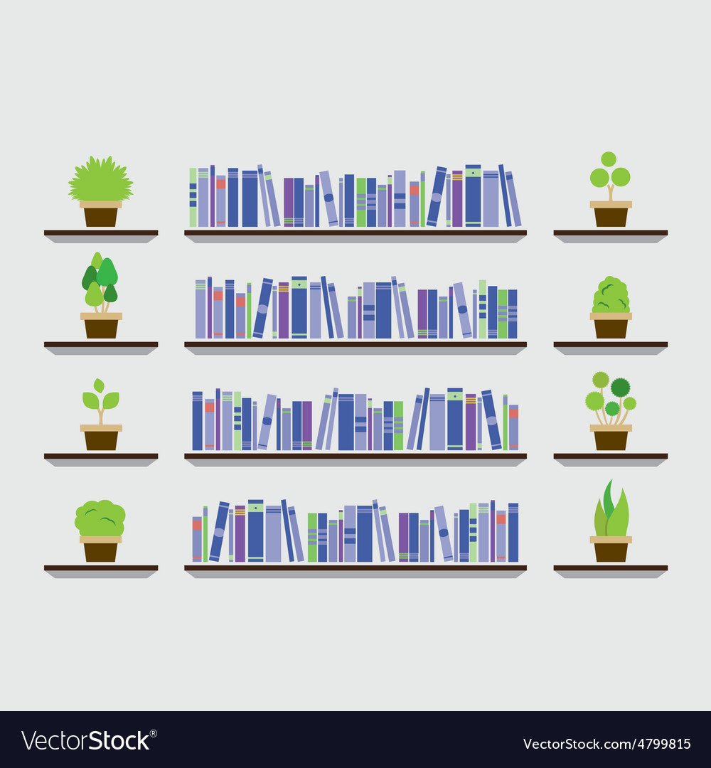 Bookshelf with pot plant on wall vector | Price: 1 Credit (USD $1)