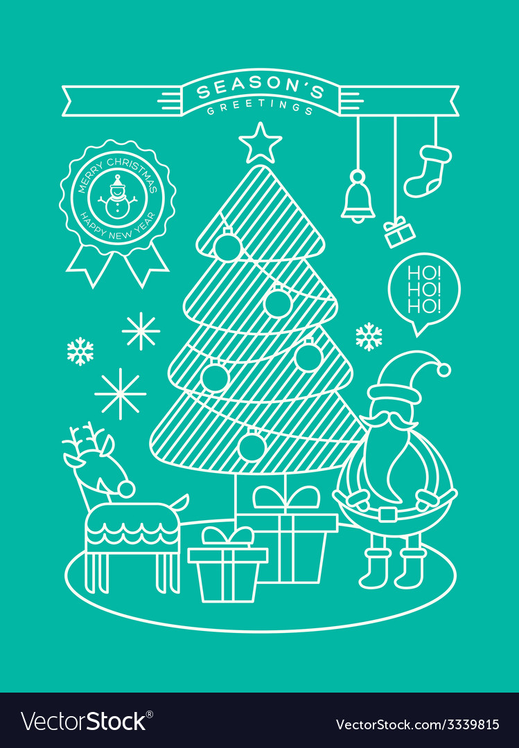 Christmas tree santa claus outline vector | Price: 1 Credit (USD $1)