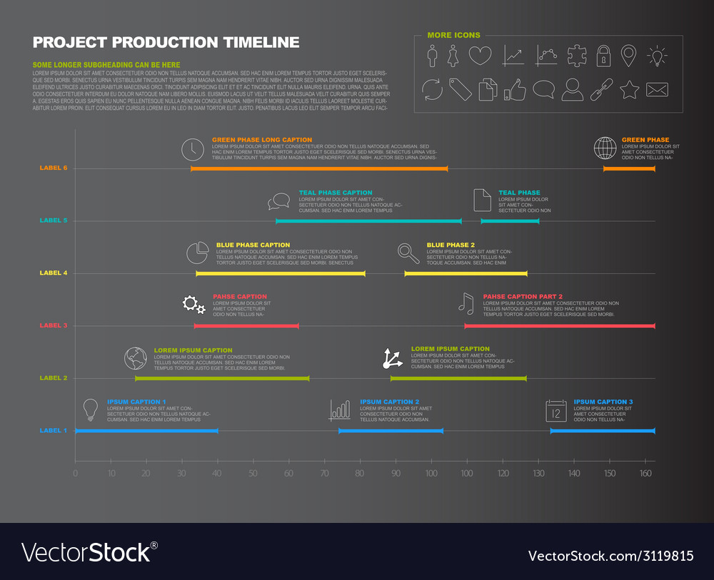 Dark project timeline graph - gantt progress chart vector | Price: 1 Credit (USD $1)