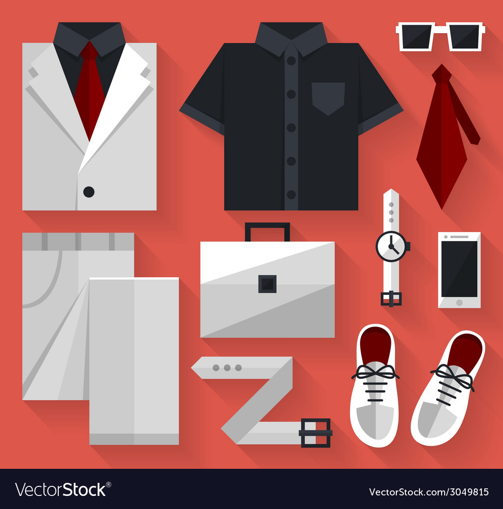 Flat business collection dress white color vector | Price: 1 Credit (USD $1)