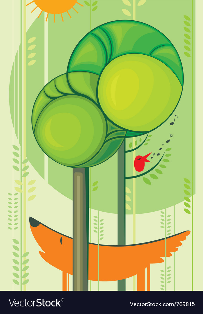 Fox and singing bird vector | Price: 3 Credit (USD $3)