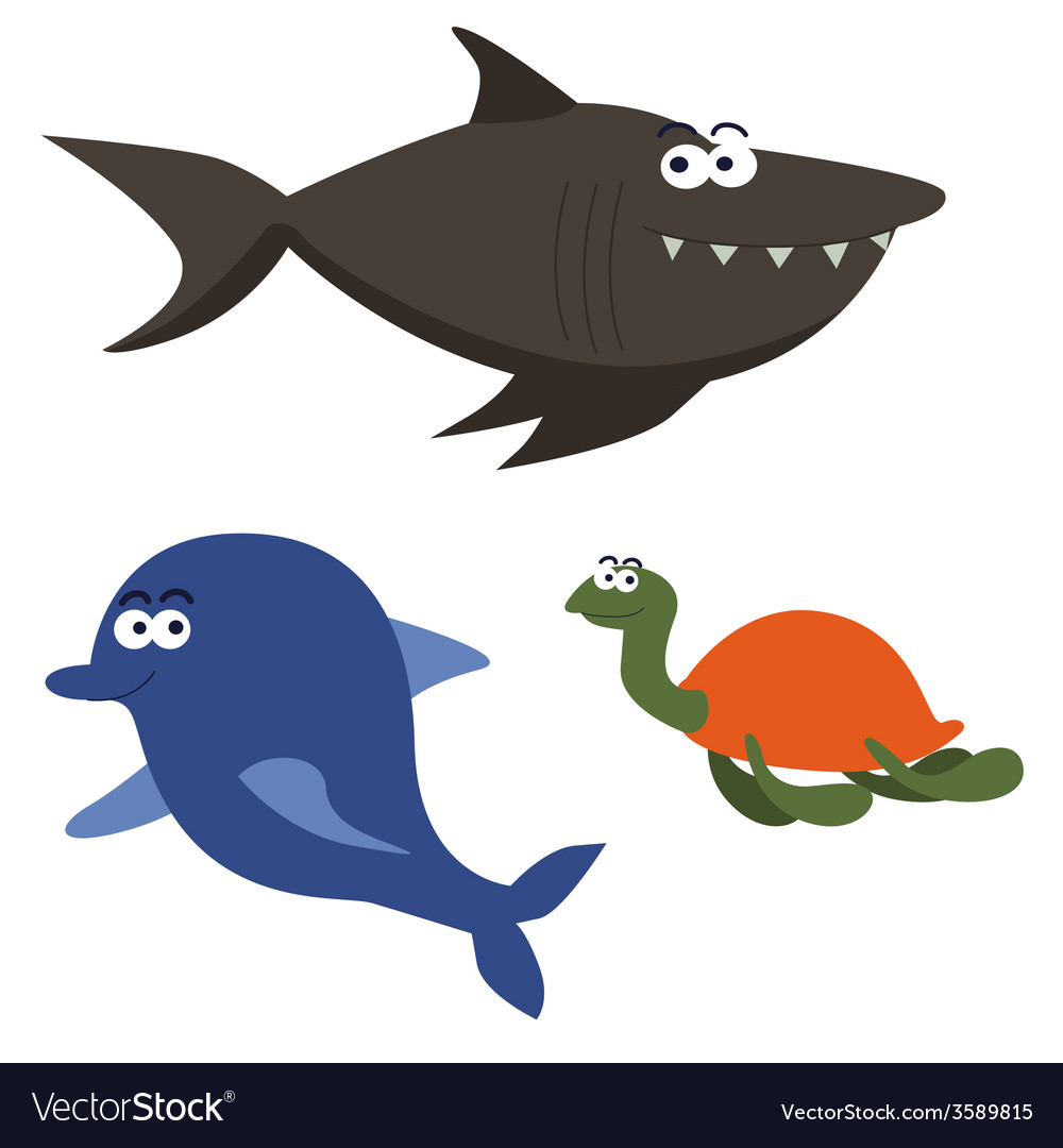 Sea animals cartoon characters vector | Price: 1 Credit (USD $1)