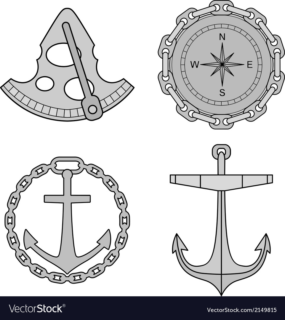 Set of nautical design elements vector | Price: 1 Credit (USD $1)