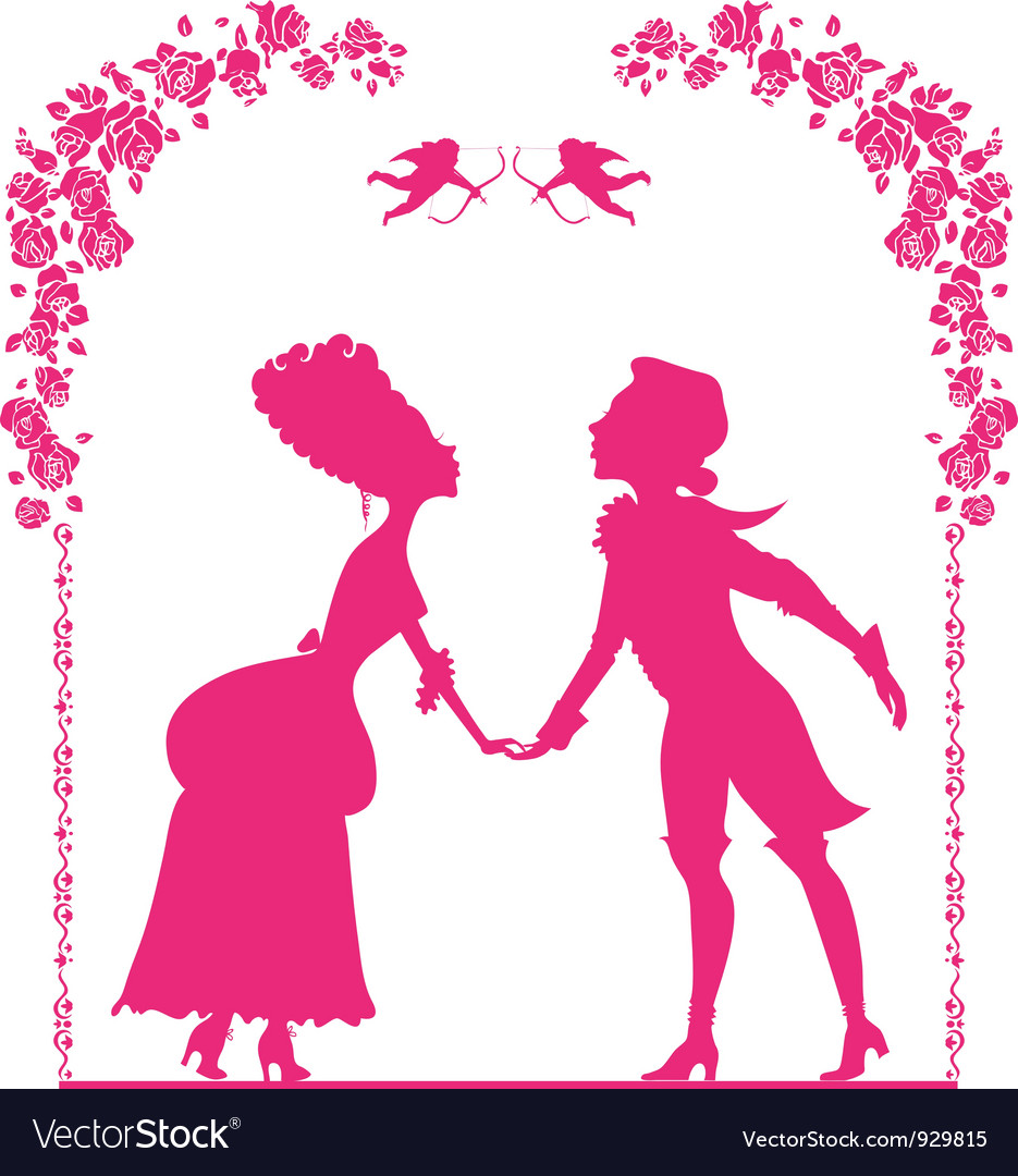 Silhouette of boy and girl vector | Price: 1 Credit (USD $1)