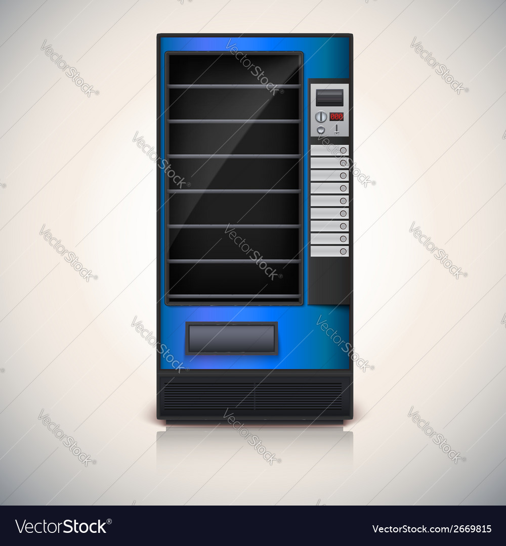 Vending machine with shelves blue coloor vector | Price: 1 Credit (USD $1)