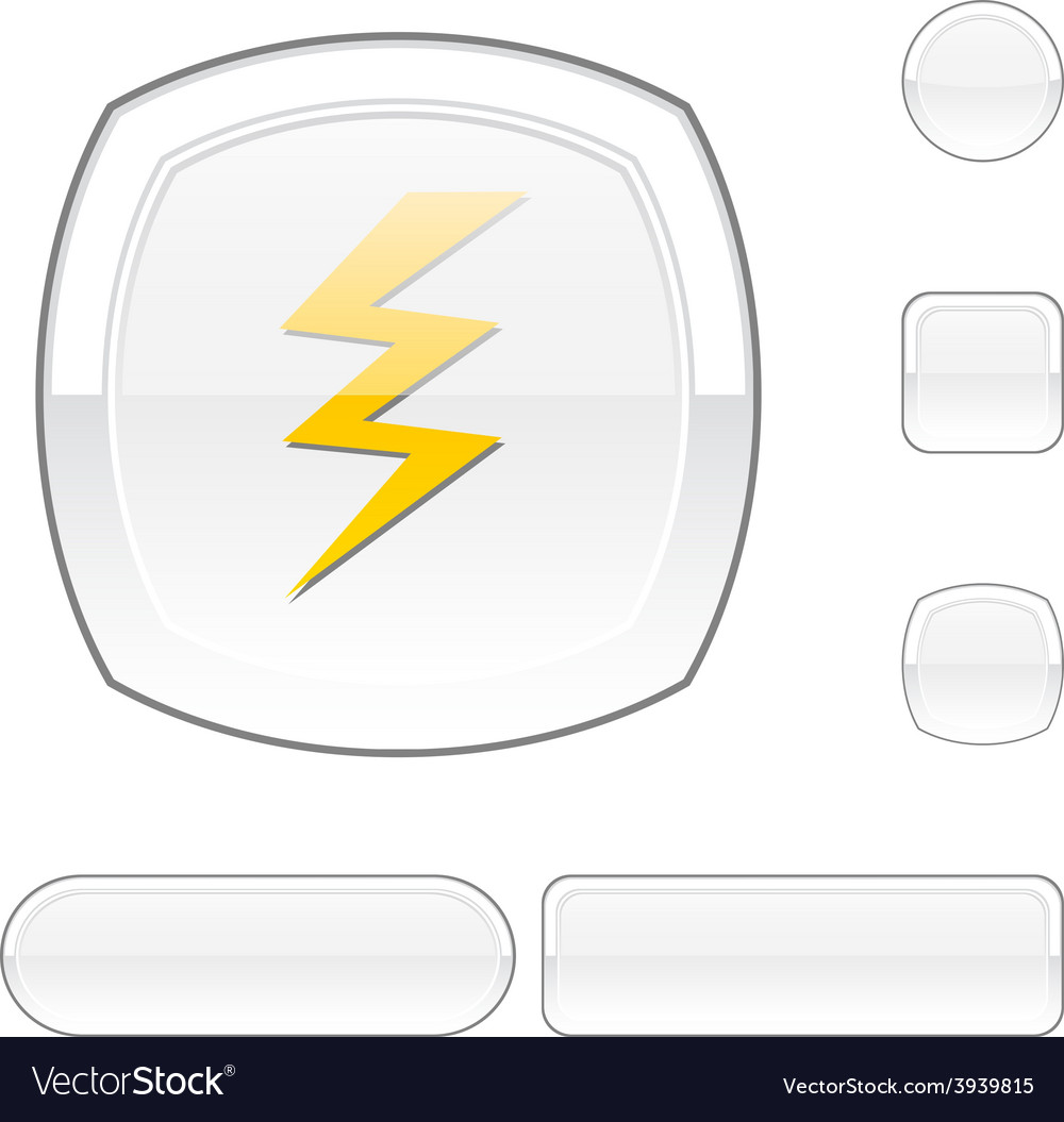 Warning white button vector | Price: 1 Credit (USD $1)