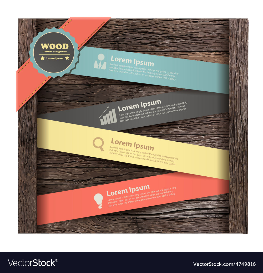 Banner on wood background vector | Price: 3 Credit (USD $3)