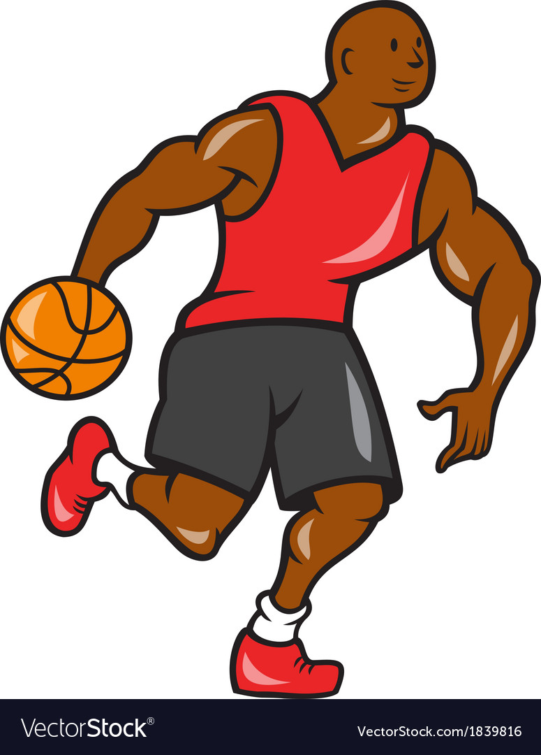 Basketball player dribbling ball cartoon vector | Price: 1 Credit (USD $1)
