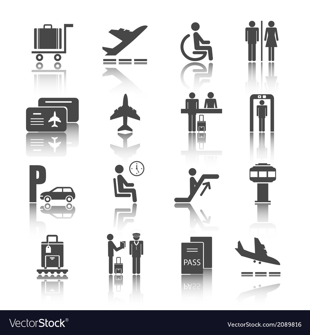 Flat airport icons set vector | Price: 1 Credit (USD $1)