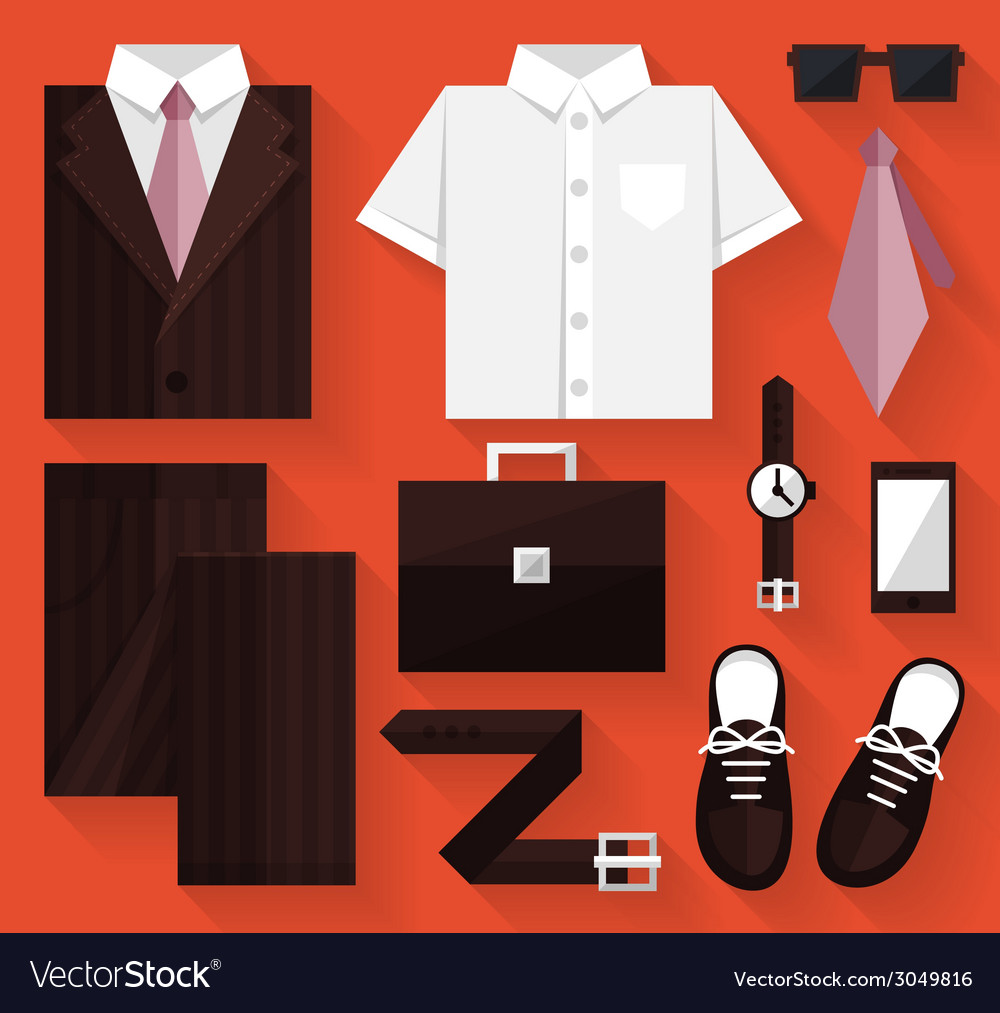 Flat business collection dress brown color vector | Price: 1 Credit (USD $1)