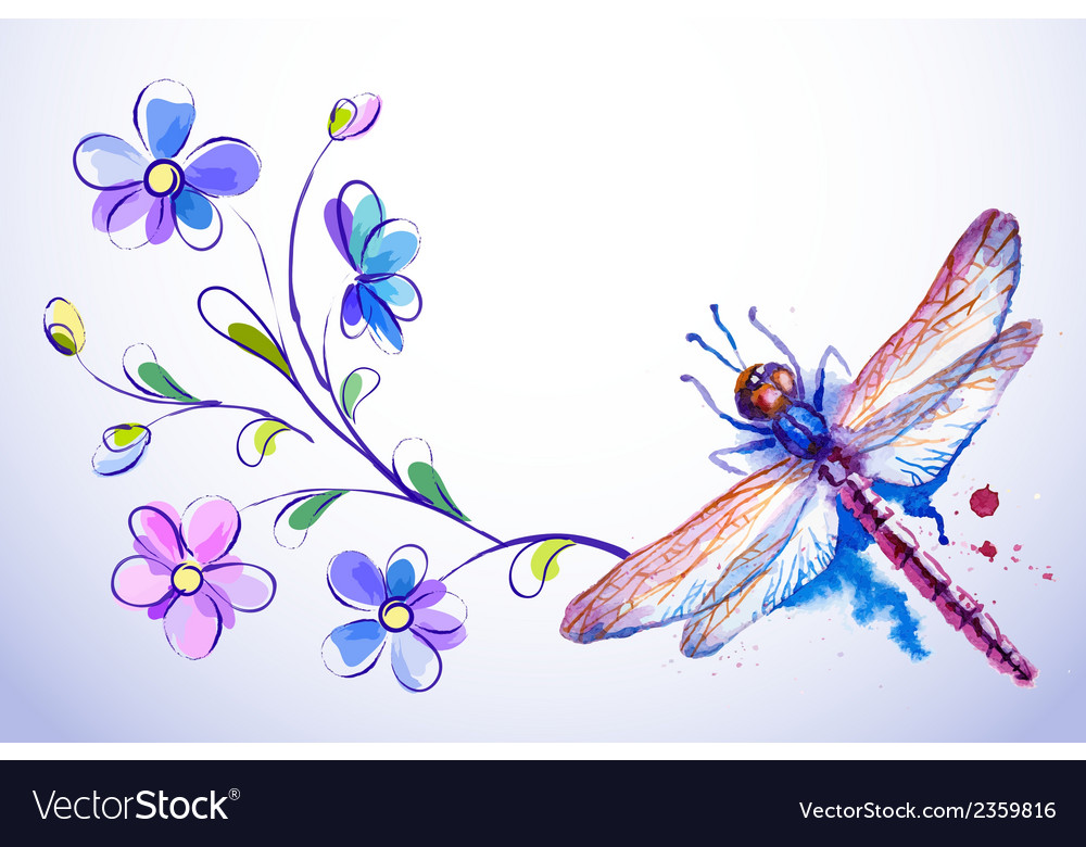 Horizontal card with dragonfly and blue flowers vector | Price: 1 Credit (USD $1)