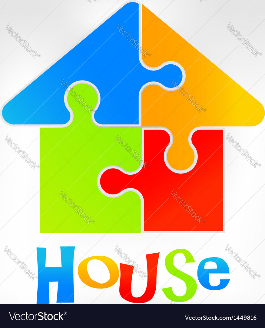 House puzzle logo vector | Price: 1 Credit (USD $1)