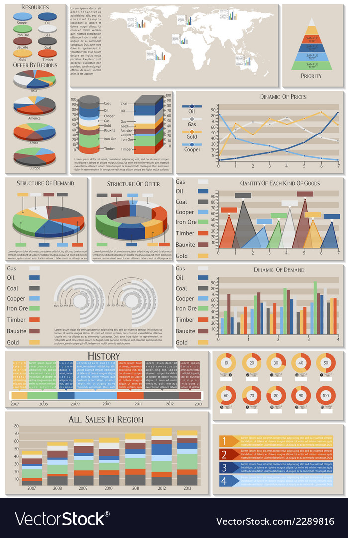 Infographic set world resources vector | Price: 1 Credit (USD $1)
