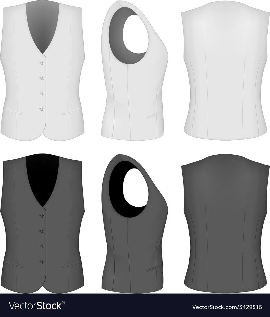 Ladies white and black waistcoats vector | Price: 1 Credit (USD $1)