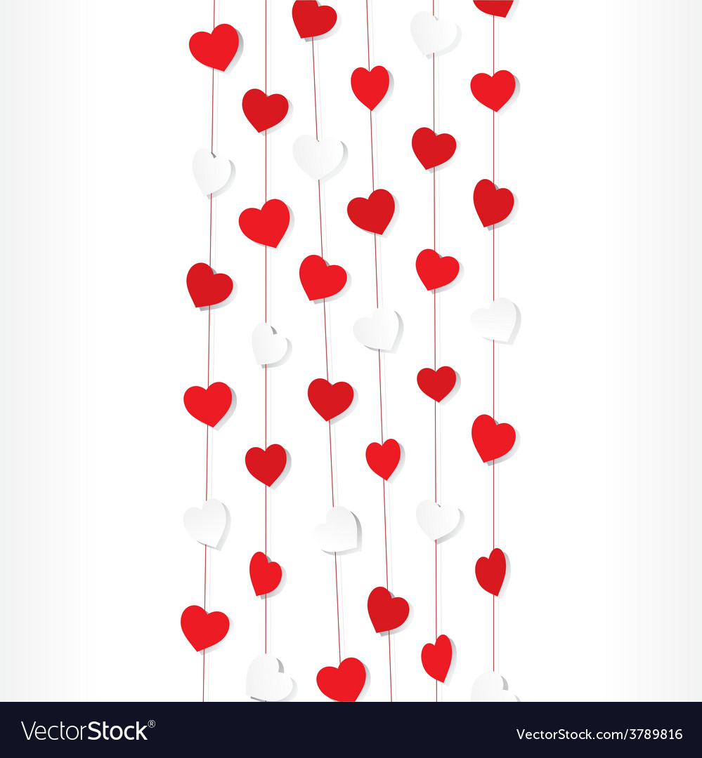 Red and white heart shape pattern background vector | Price: 1 Credit (USD $1)