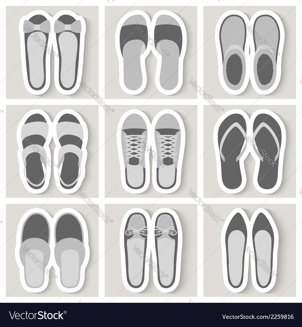 Set of nine woman shoes icons vector | Price: 1 Credit (USD $1)