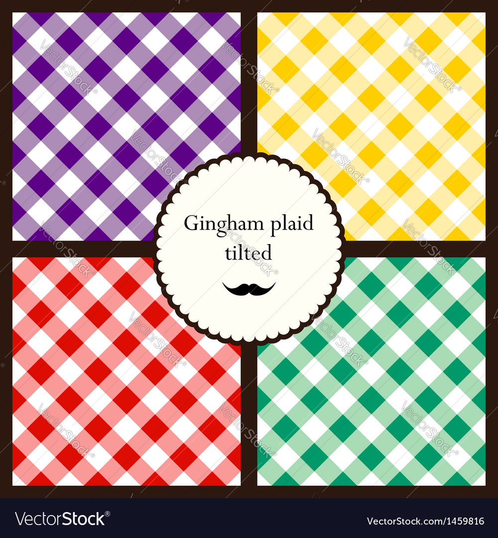 Set of tilted gingham plaid patterns vector | Price: 1 Credit (USD $1)