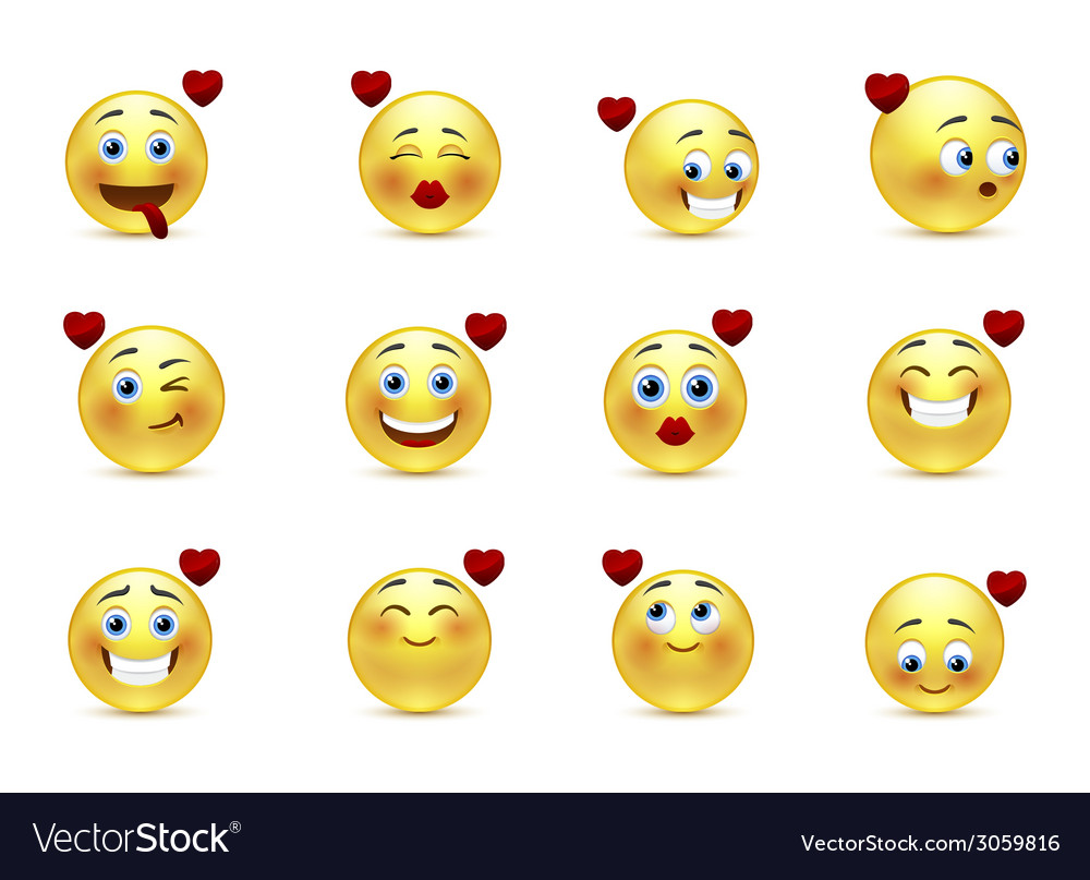 Set valentine of smilies vector | Price: 1 Credit (USD $1)