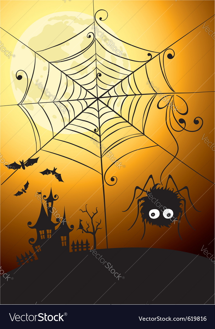Spider and full moon vector | Price: 1 Credit (USD $1)
