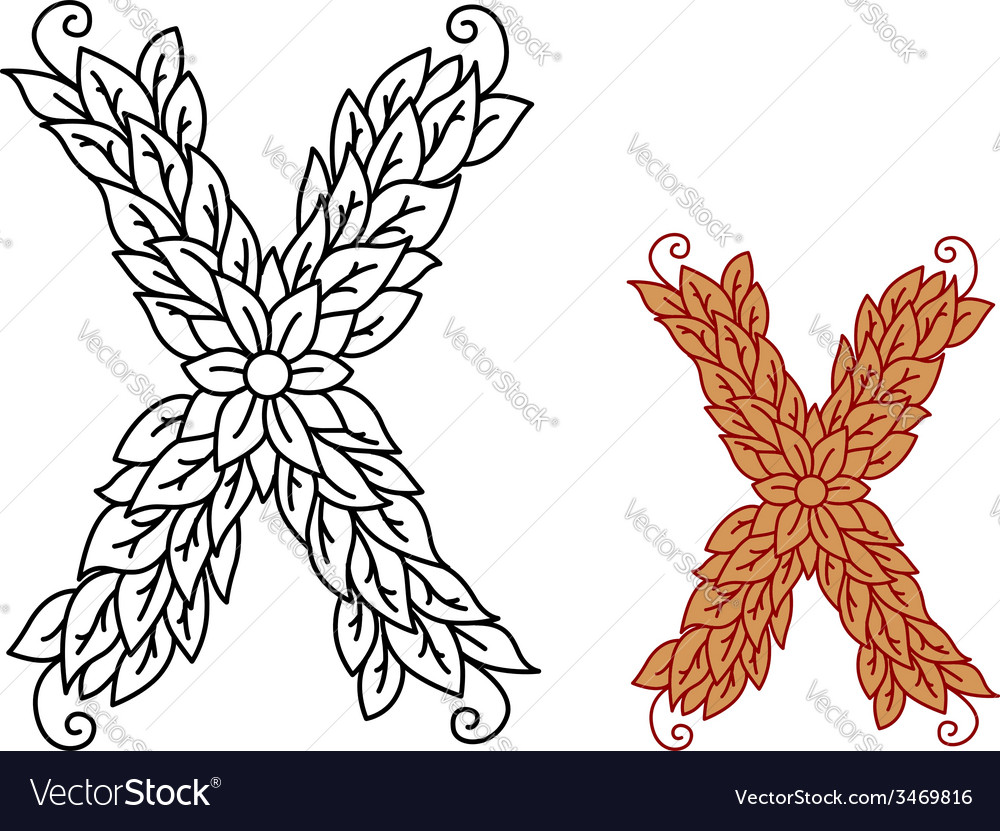 Uppercase letter x in a foliate font vector | Price: 1 Credit (USD $1)