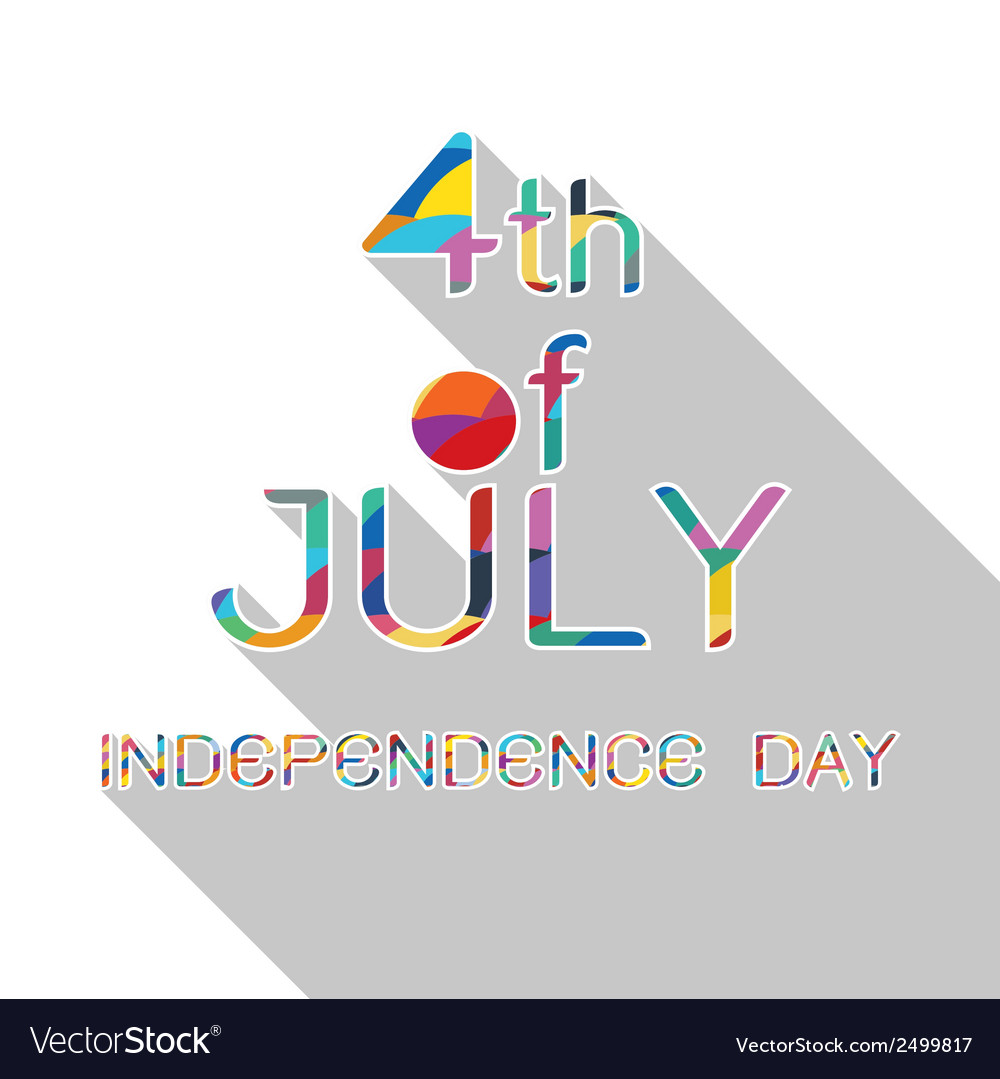 4th july with shadow on white background vector | Price: 1 Credit (USD $1)