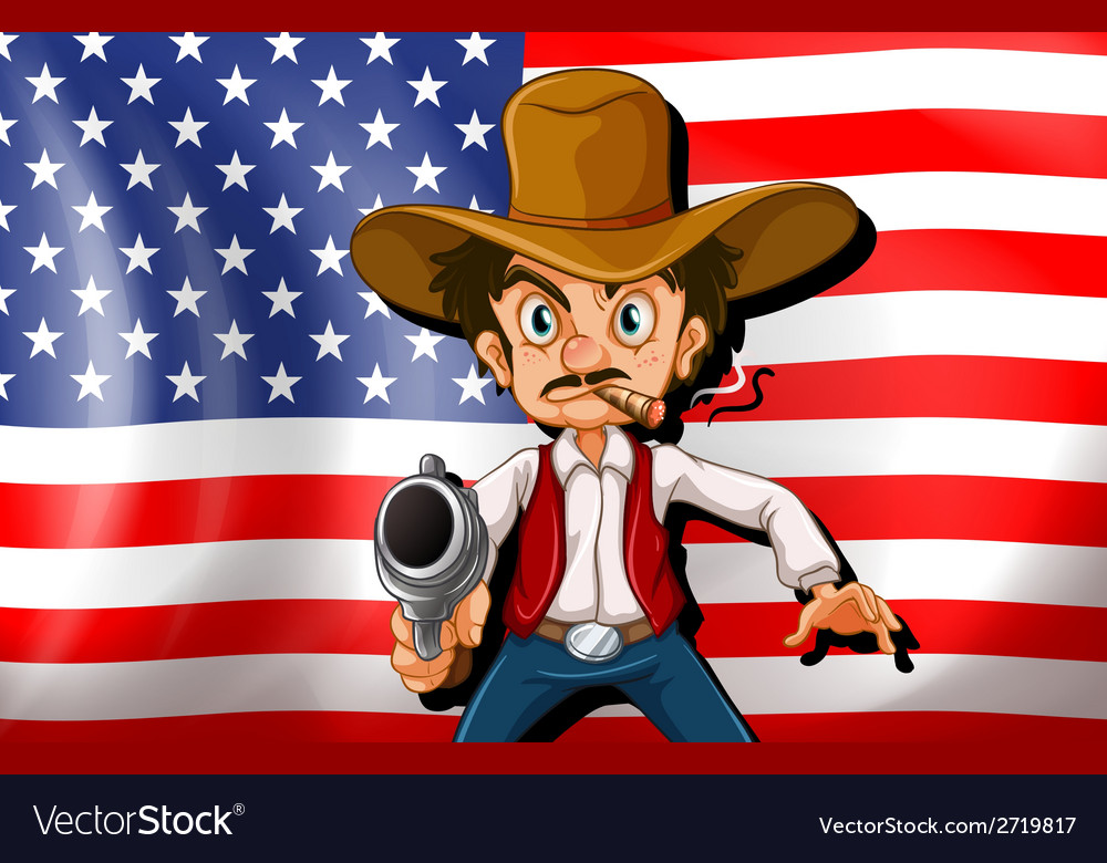 A cowboy in front of the usa flag vector | Price: 1 Credit (USD $1)