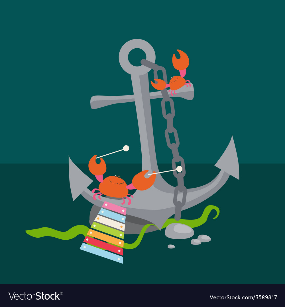 Anchor with crabs musicians vector | Price: 1 Credit (USD $1)