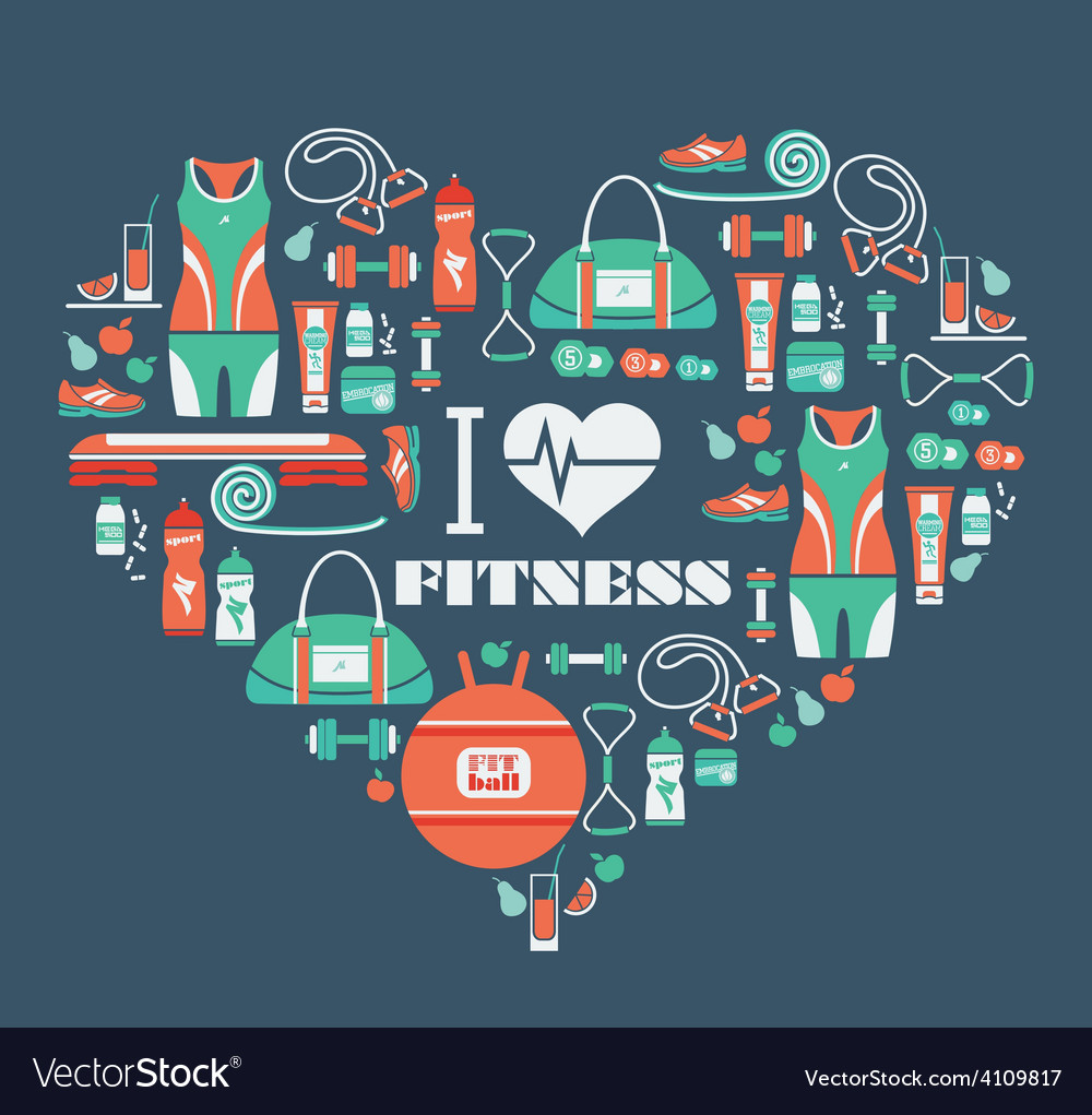 Fitness icons background in heart shape i love vector