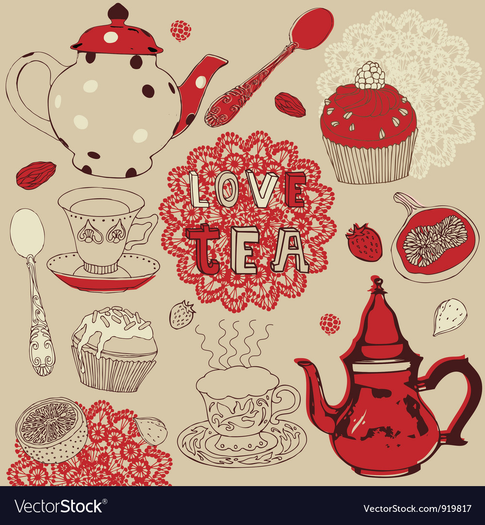 Love tea pattern vector | Price: 1 Credit (USD $1)