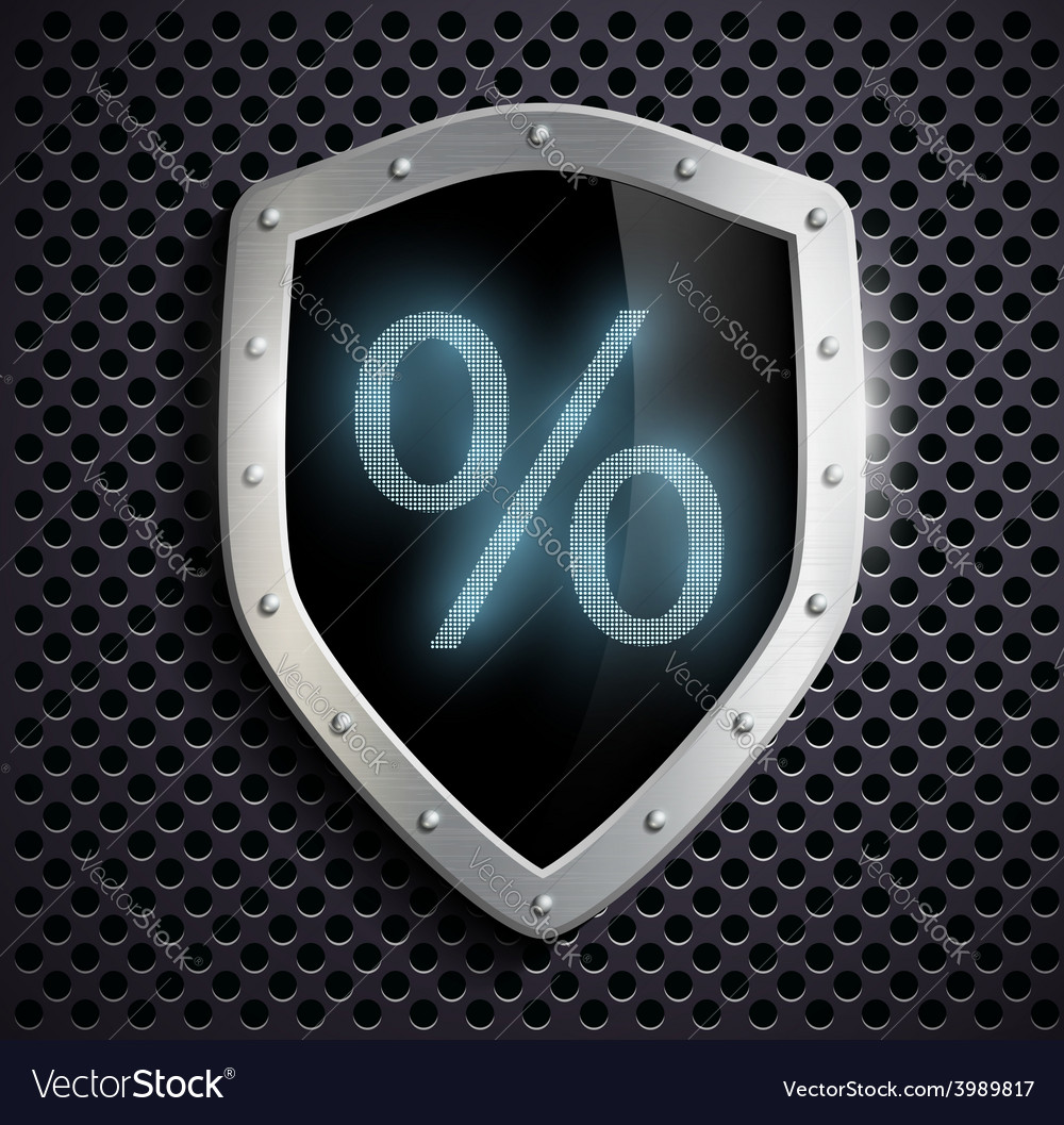 Metal shield which shows the percent sign vector | Price: 1 Credit (USD $1)