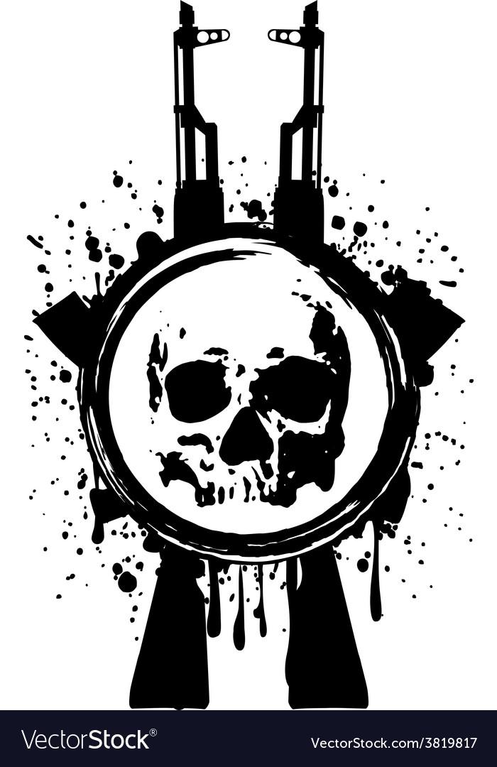 Skull ak blood vector | Price: 1 Credit (USD $1)