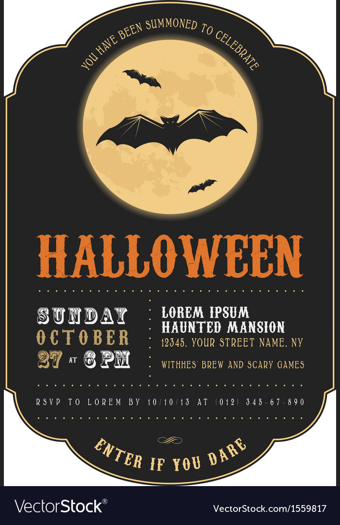 Vintage halloween invitation with flying bats vector | Price: 1 Credit (USD $1)